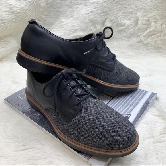 CLARKS Raisie Bloom Oxford Black Leather & Tweed